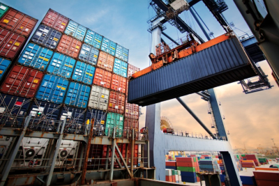 Container loading in a Cargo freight ship with industrial crane